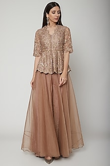 Champagne Gold Embroidered Peplum Top With Sharara Pants by Ridhi Mehra