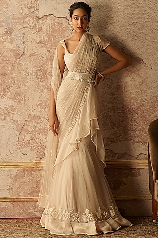 Dirty Ivory Embroidered Draped Saree Set by Ridhi Mehra