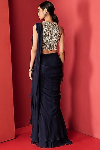 Navy Blue Embellished Draped Saree by Ridhi Mehra