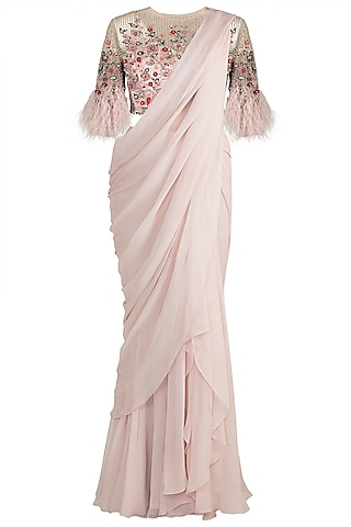 Light Pink Embroidered Saree Set by Ridhi Mehra