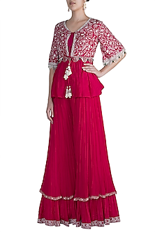 Fuchsia Pink Embroidered Peplum Jacket With Blouse & Sharara Pants by Ridhi Mehra-READY TO SHIP