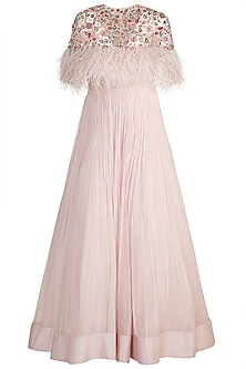 Light Pink Anarkali With Embroidered Cape by Ridhi Mehra