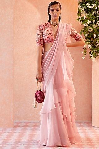 Peach Chiffon Ruffled Draped Saree Set  by Ridhi Mehra