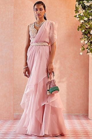 Light Pink Ruffled Draped Saree Set  by Ridhi Mehra