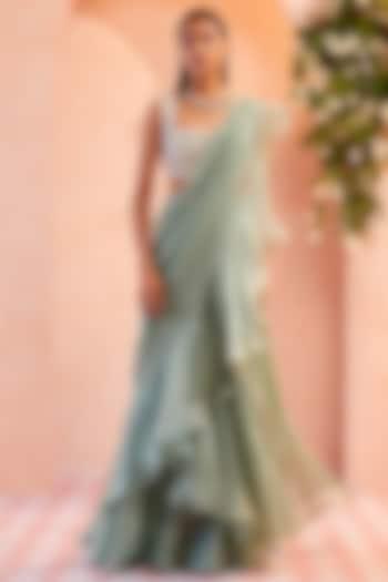 Sea Green Ruffled Draped Saree Set  by Ridhi Mehra