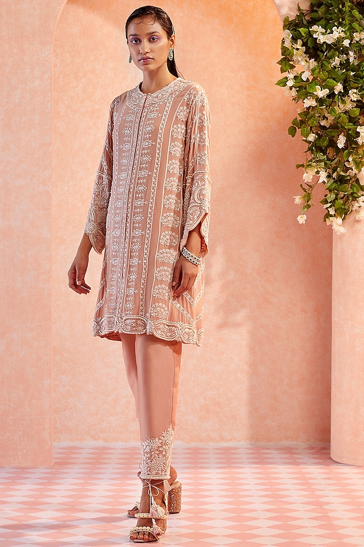 Champagne Embroidered Kurta Set by Ridhi Mehra