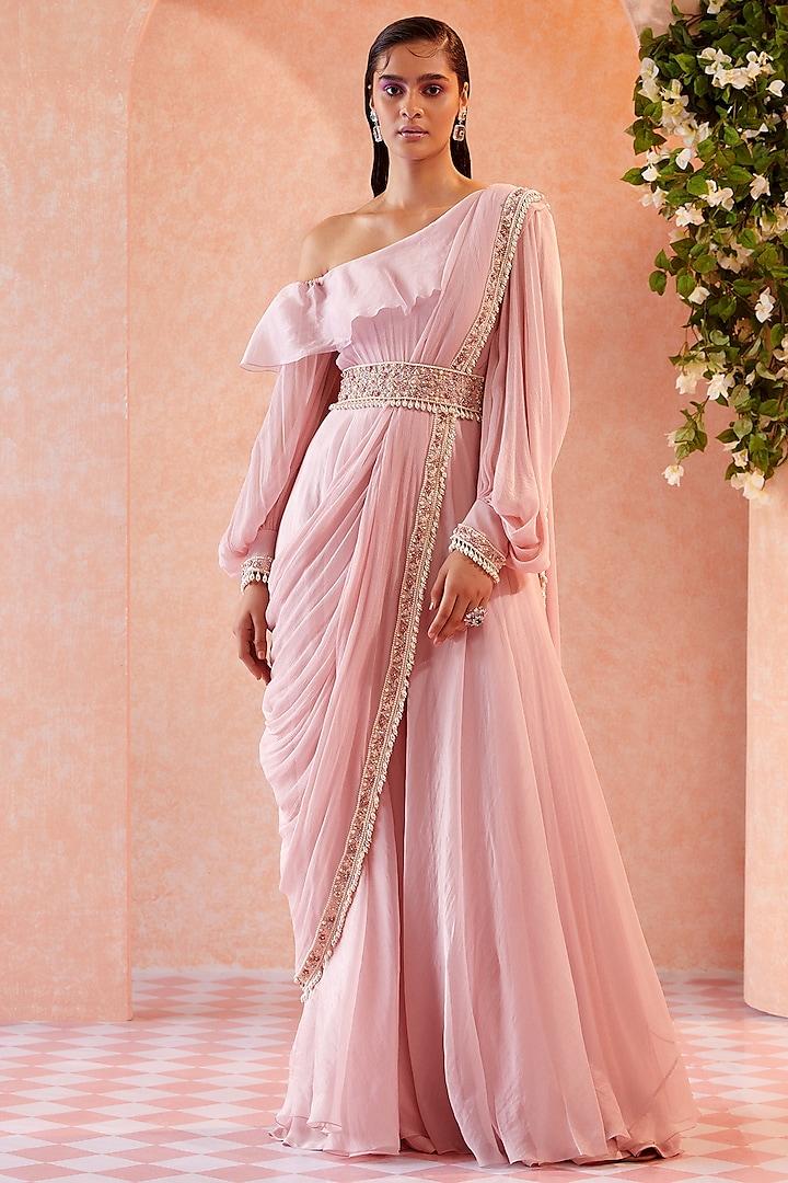 Light Pink Ruffled Drop Shoulder Jumpsuit by Ridhi Mehra