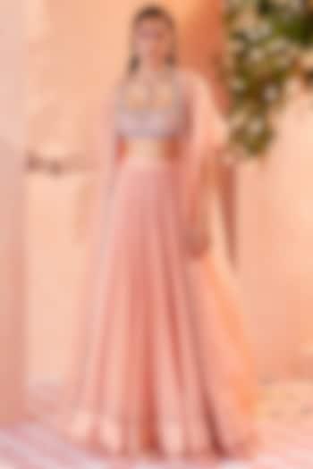 Peach Chiffon Ruched Skirt Set by Ridhi Mehra
