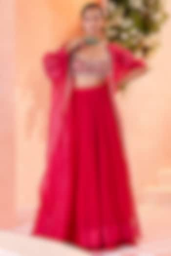 Fuschia Chiffon Ruched Skirt Set by Ridhi Mehra