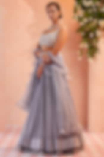Grey Chiffon Ruched Skirt Set by Ridhi Mehra