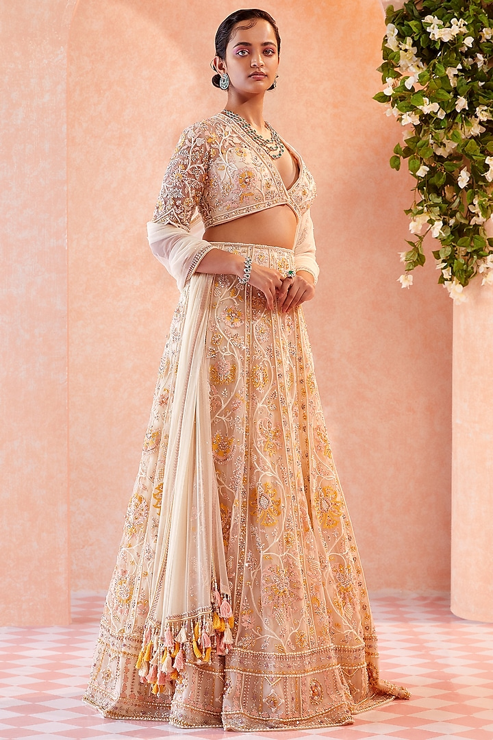 Dirty Ivory Embroidered Lehenga Set by Ridhi Mehra
