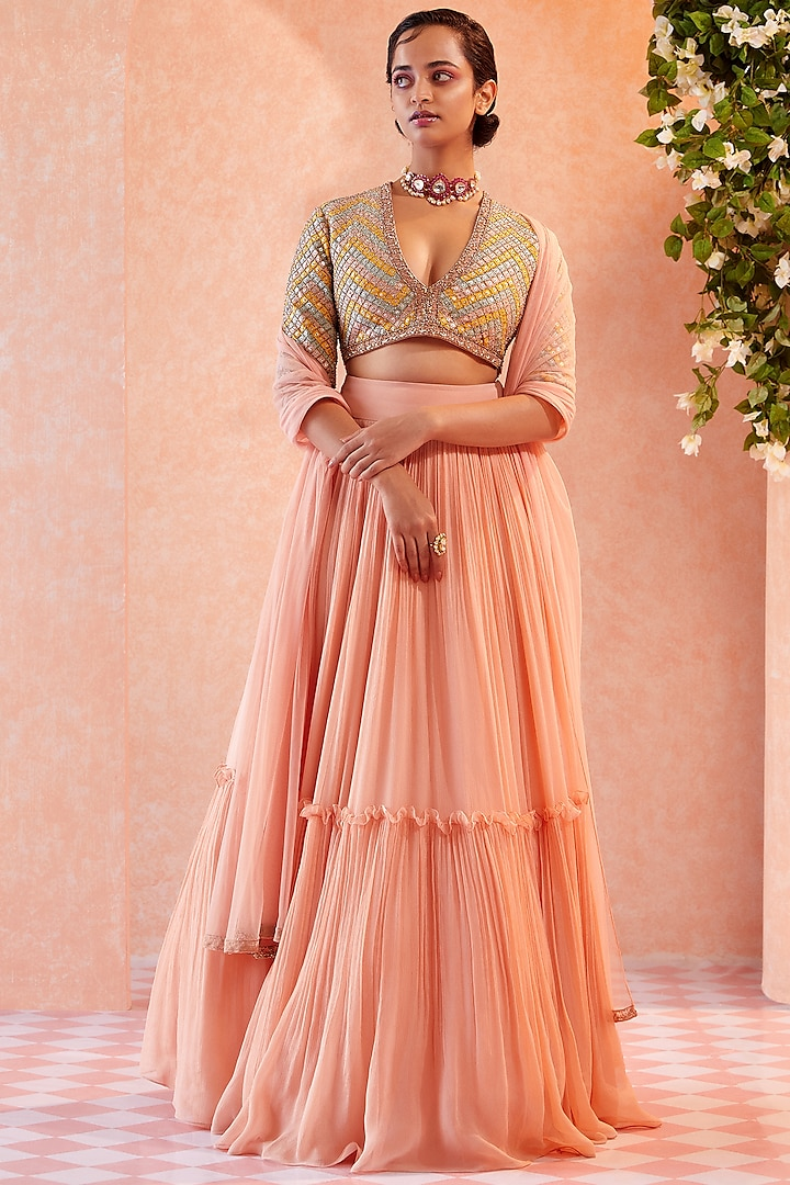 Champagne Two Tiered Skirt Set by Ridhi Mehra