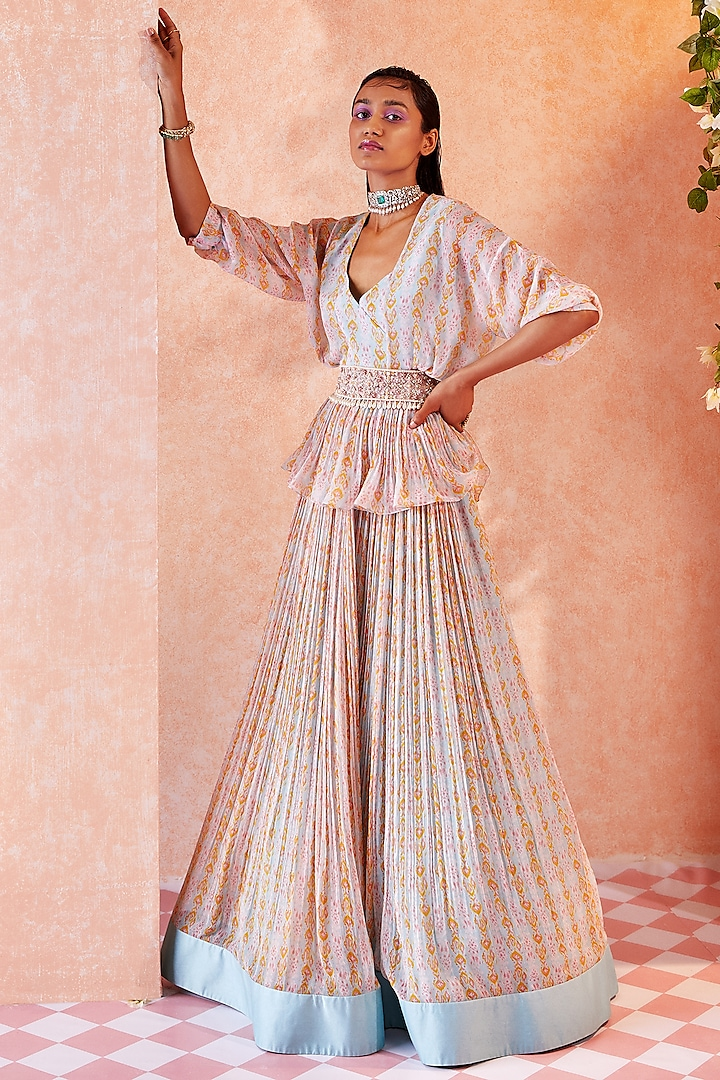 Ice Blue Printed Ruched Skirt Set by Ridhi Mehra