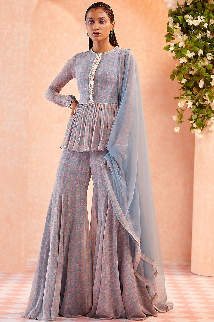 Dusty Blue Embellished Sharara Set by Ridhi Mehra