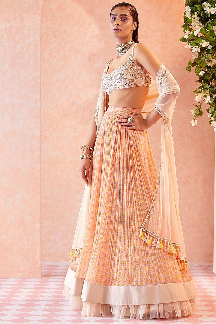Dirty Ivory Ikat Printed Skirt Set by Ridhi Mehra