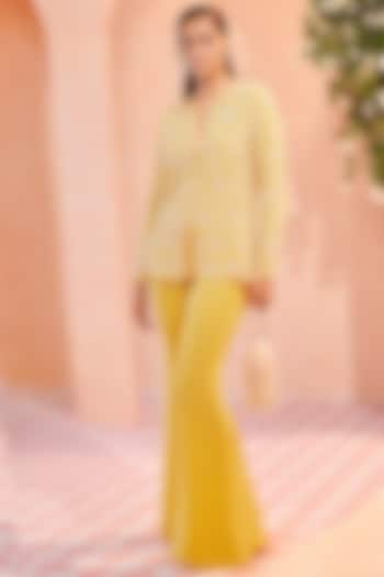 Primrose Yellow Embroidered Pant Set by Ridhi Mehra