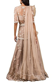 Champagne Gold Embroidered Lehenga Set by Ridhi Mehra