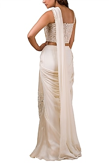 Ivory Embroidered Pre-Draped Saree Set by Ridhi Mehra