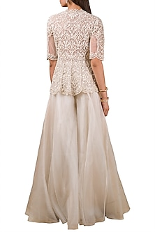 Ivory Embroidered Peplum Top With Sharara Pants by Ridhi Mehra