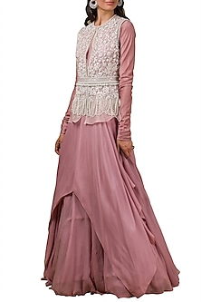 Lilac Anarkali With Embroidered Jacket by Ridhi Mehra
