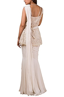 Ivory Embroidered Pre-Draped Saree Set With Belt by Ridhi Mehra