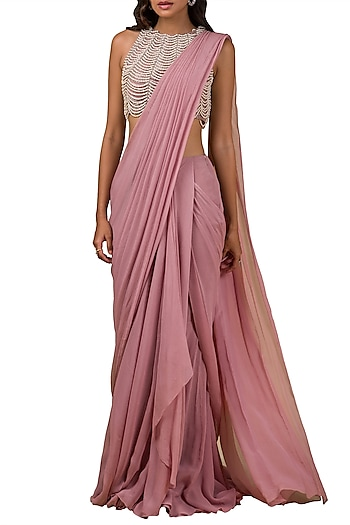 Onion Pink Embroidered Pre-Draped Saree Set by Ridhi Mehra