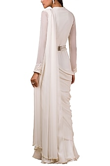 Ivory Saree Gown With Embellished Belt by Ridhi Mehra