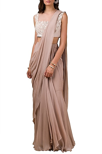Champaign Gold Embellished Pre-Draped Saree Set by Ridhi Mehra