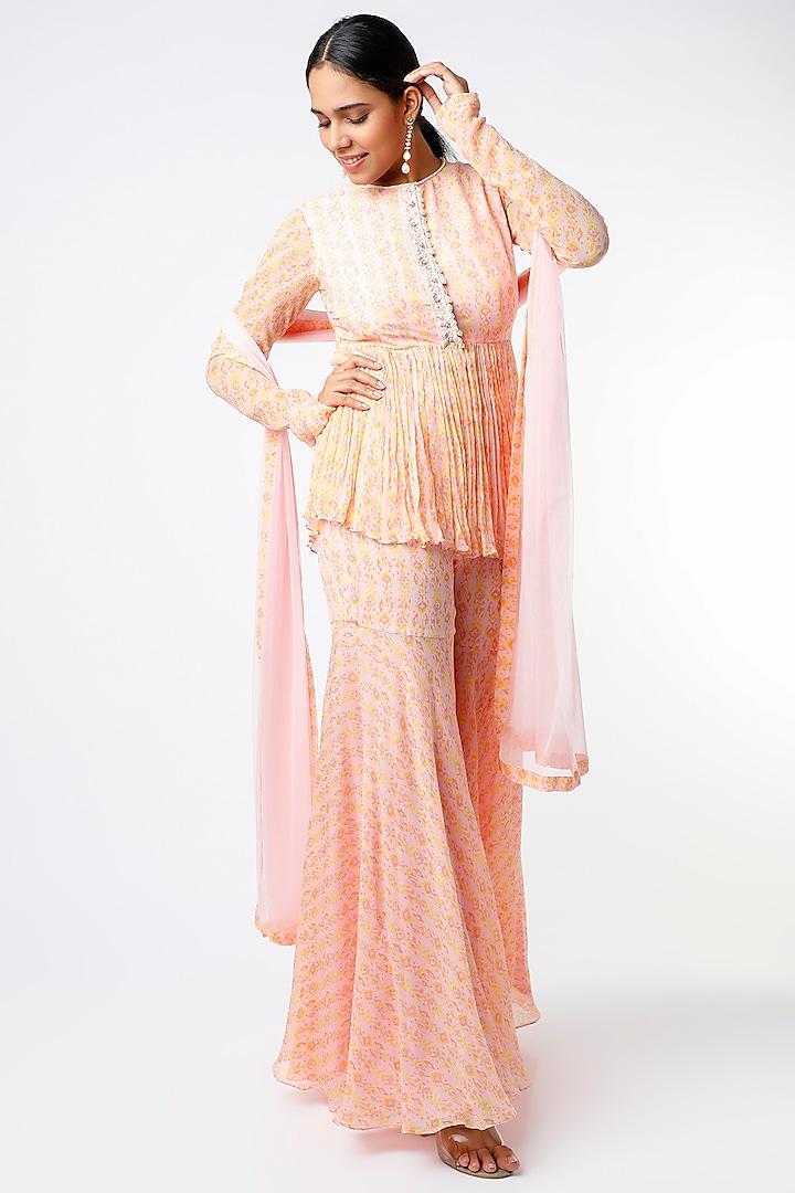 Orchid Pink Chiffon Sharara Set by Ridhi Mehra