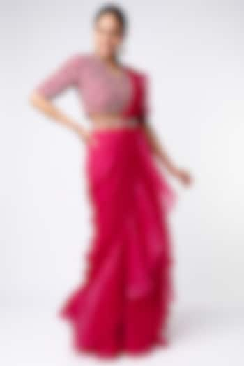 Deep Fuchsia Draped Saree Set by Ridhi Mehra