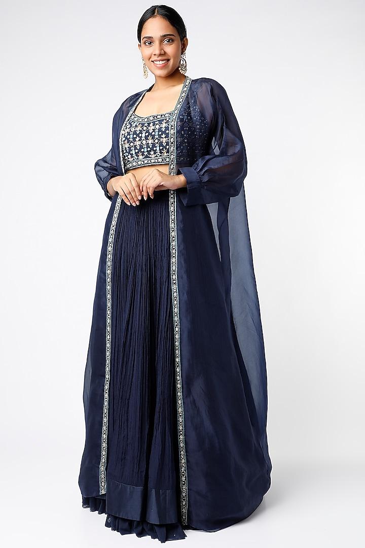 Navy Blue Chiffon Ruched Skirt Set by Ridhi Mehra