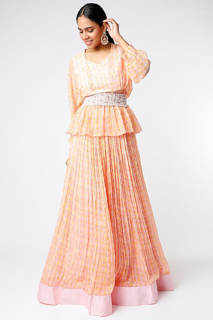 Orchid Pink Ikat Printed Ruched Skirt Set by Ridhi Mehra