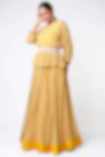 Yellow Ikat Printed Ruched Skirt Set by Ridhi Mehra