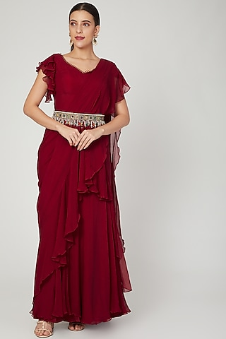 Red Embroidered Saree Gown Set With Belt by Ridhi Mehra