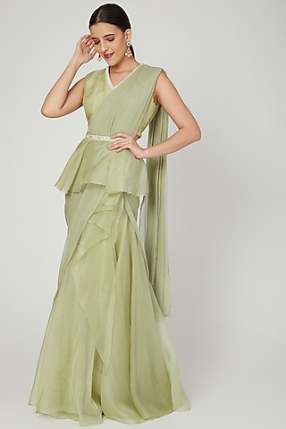 Apple Green Ruffled Saree Set With Belt by Ridhi Mehra