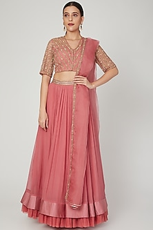 Rust pink Embellished Skirt Set by Ridhi Mehra-POPULAR PRODUCTS AT STORE