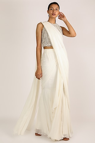 Ivory Draped & Embroidered Saree Set by Ridhi Mehra