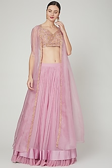 Dusty Pink Embroidered Skirt Set by Ridhi Mehra-POPULAR PRODUCTS AT STORE
