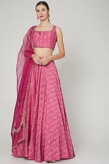 Fuchsia Printed Skirt Set by Ridhi Mehra-POPULAR PRODUCTS AT STORE
