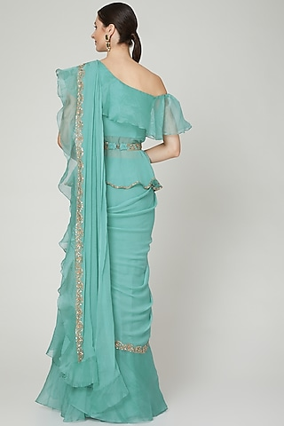Teal Ruffled Saree Set With Belt by Ridhi Mehra