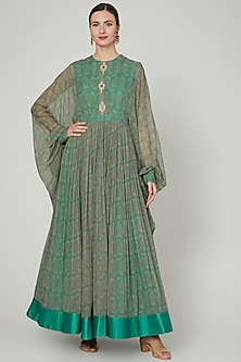 Turquoise Printed Anarkali With Embroidered Buttons by Ridhi Mehra-POPULAR PRODUCTS AT STORE