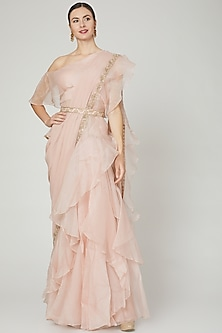 Blush Pink Ruffled Saree Set With Belt by Ridhi Mehra-POPULAR PRODUCTS AT STORE