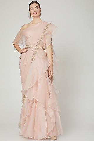 Blush Pink Ruffled Saree Set With Belt by Ridhi Mehra