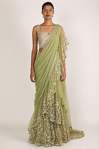 Mint Green Ruffled Saree Set by Ridhi Mehra