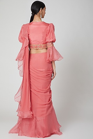 Coral Ruffled & Embroidered Saree Set by Ridhi Mehra
