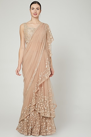 Champagne Ruffled & Embroidered Saree Set by Ridhi Mehra