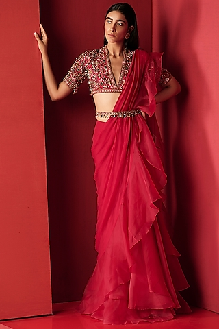Deep Fuchsia Embroidered Saree Set by Ridhi Mehra