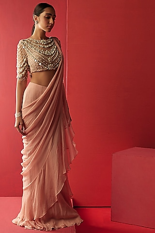 Peach & Champagne Embroidered Saree Set by Ridhi Mehra