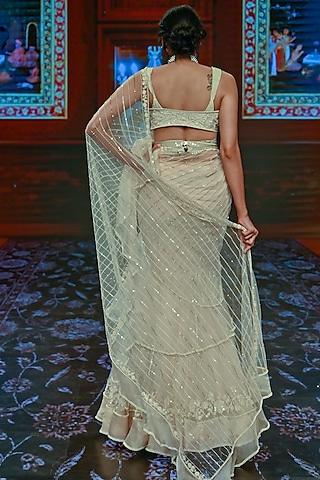 Dirty Ivory Embroidered Saree Set by Ridhi Mehra