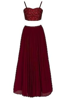 Maroon Embellished & Ruffled Lehenga Set by Ruhmahsa